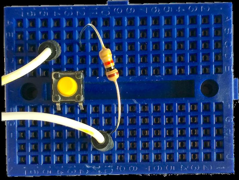 push button circuit: 3v3 - button - 10kΩ - GPIO pin