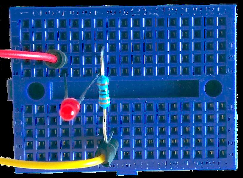 LED Schaltung: GPIO Pin - LED - 330Ω - GND
