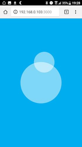 Screenshot von nippleJS Joystick mit Ausrichtung nach oben