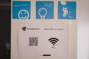 Welcome to our guest WiFi poster in coffee lounge